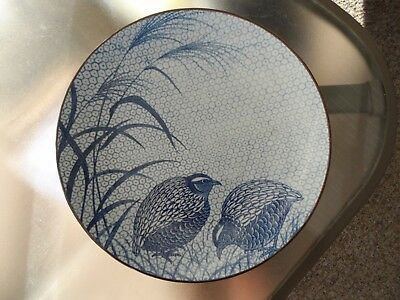 "Japanese Sometsuke Quail & Millet Large charger from Arita japan 12 1/4"" Plate"