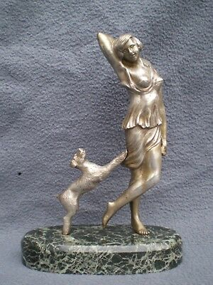 sculpture en bronze argenté art deco femme érotique antique statue woman figur