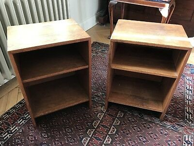 Pair Of Oak Bedside Tables (or Under-desk Storage) Vintage 1930s-50s