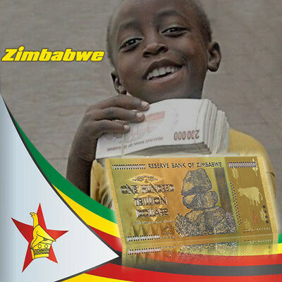 WR 2008 Zimbabwe 100 Trillion Dollars Banknote 24K GOLD Bank Note Gift +COA PACK