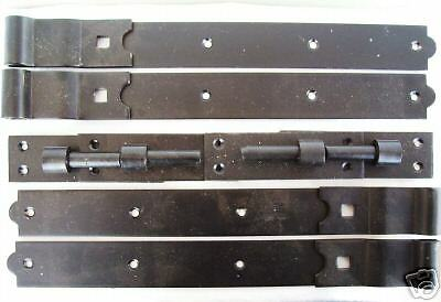 "TIMBER WOODEN GATES GARAGE DOORS  Black 24"" Hook & Band Hinges 2 PAIRS"