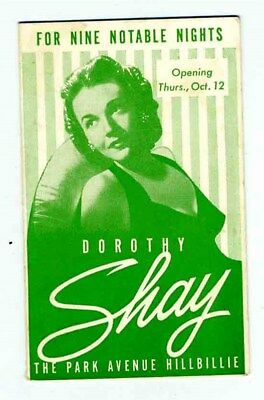 Dorothy Shay The Park Avenue Hillbilly Brochure Olympic Hotel Seattle  1950s