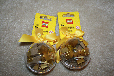 Lego Ornament Holiday Bauble With Gold Bricks