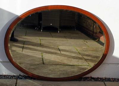 Large oval Edwardian Mahogany  overmantle mirror 103 cm x 78 cm