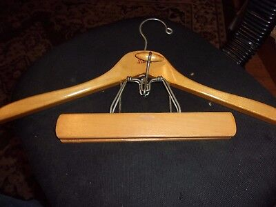 """Vintage Setwell 18"""" Wooden Hanger with 10"""" Pant Locking Bar USA Tight Metal Grip"""