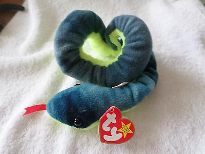 "Mwmt Errors Missing ""uk"" Ty Beanie Baby Hissy The Snake Pvc Pellets"