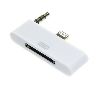 Audio Adapter 8 pin zu 30 pin weiß f iPhone 5 5S 5C iPod Touch 5 Sound Dock