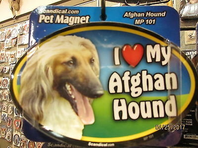 I Love My Afghan Hound 6 inch oval magnet for car or anything metal  New