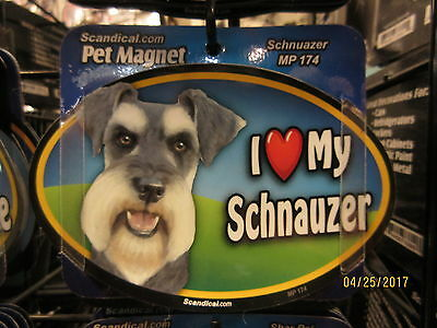 I Love My Schnauzer 6 inch oval magnet for car or anything metal  New