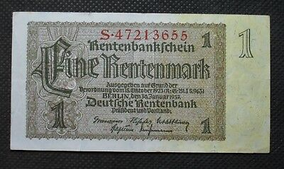 Old Bank Note Of Nazi Germany 1 Rentenmark 1937 Third Reich S47213655