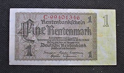 Old Bank Note Of Nazi Germany 1 Rentenmark 1937 Third Reich C99401346