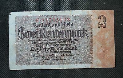 Old Bank Note Of Nazi Germany 2 Rentenmark 1937 Third Reich E71755198
