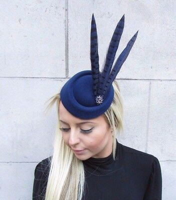 d766bb57dc8 Navy Blue Black Pheasant Feather Pillbox Hat Fascinator Hair Races Clip Vtg  4626
