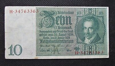 Old Bank Note Of Nazi Germany 10 Reichsmark 1929 Third Reich No. H34763363