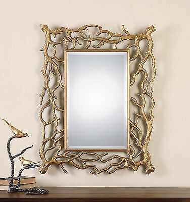 Gold Tree Branches Wall Mirror | Vanity Mantel