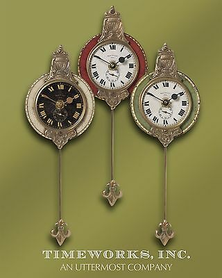 Set of Three Ornate Miniature Wall Clocks Grouping | Cast Brass Pendulum