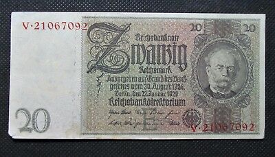 Old Bank Note Of Nazi Germany 20 Reichsmark 1929 Third Reich No. V21067092