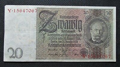 Old Bank Note Of Nazi Germany 20 Reichsmark 1929 Third Reich No. Y15647067