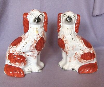 Pair of Antique Flat Back  China Staffordshire Spaniels Wally Mantle Dogs c.1860