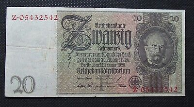 Old Bank Note Of Nazi Germany 20 Reichsmark 1929 Third Reich No. Z05432542