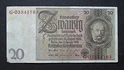 Old Bank Note Of Nazi Germany 20 Reichsmark 1929 Third Reich No. G03541163