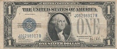 "1928B $1 Blue ""FUNNY BACK"" SILVER Certificate Old US Paper Currency"
