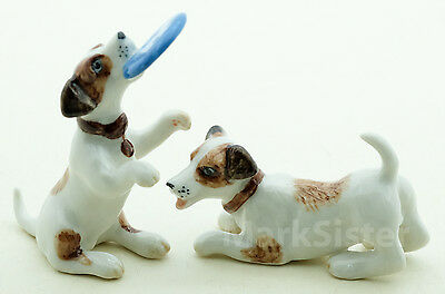 Figurine Ceramic Animal Miniature Statue 2 Jack Russell Terrier Dog - CDG005