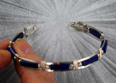 Blue Lapis Lazuli  Gemstone Bracelet  Sterling Silver  Size 5 To 9 Wire Wrapped