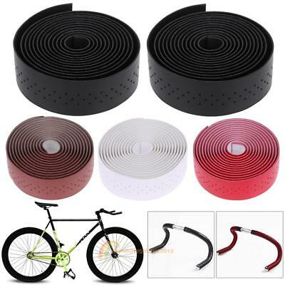2pcs MTB Bike Cycling Road Bike Sports Bicycle Cork Handlebar Leather Tape Wrap