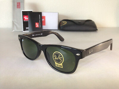 AUTHENTIC Ray Ban New Wayfarer Sunglasses Green Lens Black Frame Size 55MM