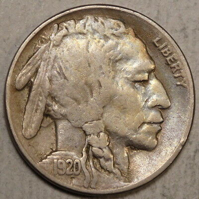 1920-S Buffalo Nickel, Very Fine, True VF with Complete Horn, Scarce   1001-05