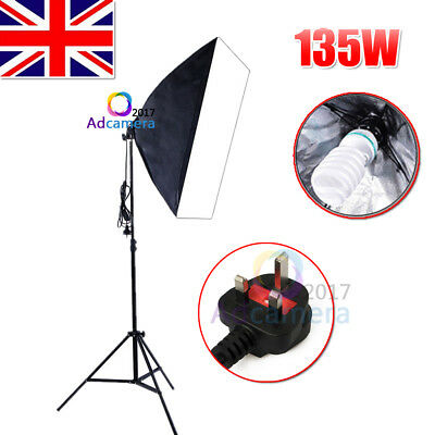 Photography Photo Studio 135W Softbox Continuous Lighting Light Stand Kit New UK