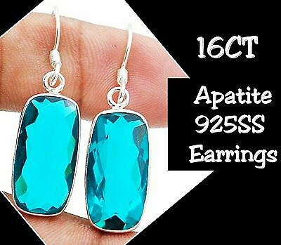 """16CT Apatite 925 Solid Genuine Sterling Silver Earrings  Jewelry 1 3/4"""" Long"""