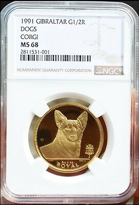 1991 Gibraltar Gold CORGI Dog 1/2 Ounce Coin NGC MS68 Superb Gem ~Extremely Rare