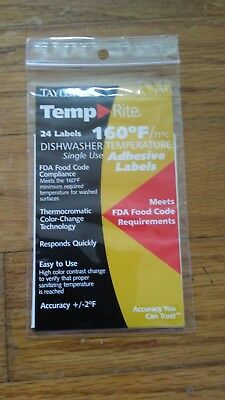 Taylor Temp Rite 8751 24 count 160 degree Dishwasher Temperature Adhesive labels