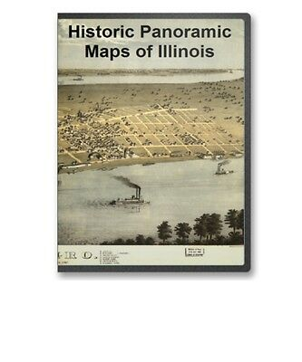 Illinois IL - 64 Vintage Panoramic City Maps on CD - B149