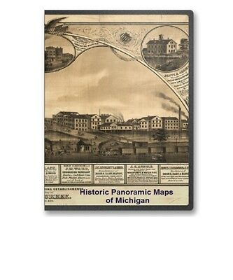 Michigan MI - 45 Vintage Panoramic City Maps on CD - B165