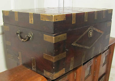 Large Georgian Brass Bound Gentleman's Travelling Box