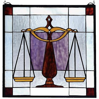 "Meyda Tiffany 18"" Law Scales of Justice Office Framed Stained Glass Window"