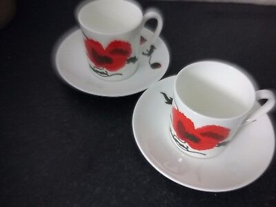 Susie Cooper Cornpoppy Coffee Cups and Saucers