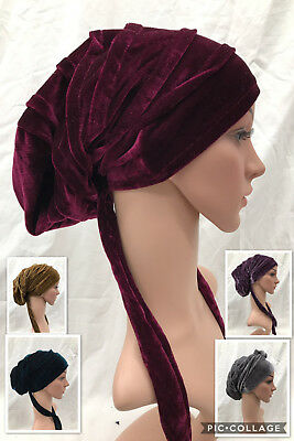 Velvet Turban Rasta Beanie Baggy Head Hair Wrap Hat Hijab African Plain Chemo