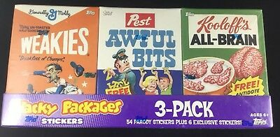 2010 Wacky Packages Cereal Parody 3-Pack Stickers Series 7 Awful Bits All-Brain