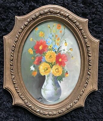 Walter Lantz Estate STILL FLOWERS Oil on Board Canvas painting to Gracie 1974
