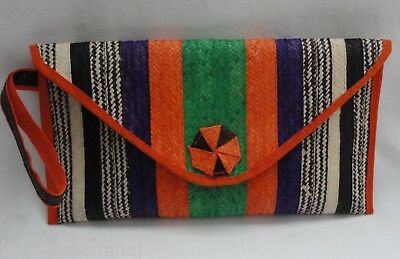 Green stripe raffia wristlet clutch bag caña flecha bolso purse