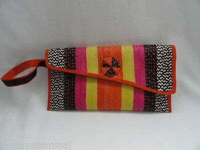 Striped wristlet raffia clutch bag caña flecha bolso purse
