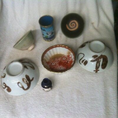 7-Piece Vintage Japanese Ceramics Mixed Lot -Some Signed-Hand Painted Vase Plus!