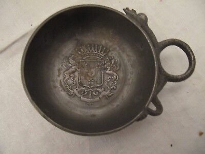 Antique or Vintage Pewter Crested Armorial Dish Bowl