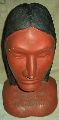ANTIQUE c.1930S TRADEPOST BUST CHEROKEE NATIVE AMERICAN INDIAN HEAD DRESSES vafo