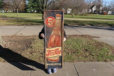 "Rare Vintage 1930s Pepsi Cola Double Dot Soda Pop Bottle 49"" Embossed Metal Sign"