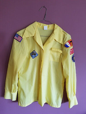 Vintage Bsa Boy Scouts Of America Cub Scout Yellow Long Sleeve Shirt W/patches